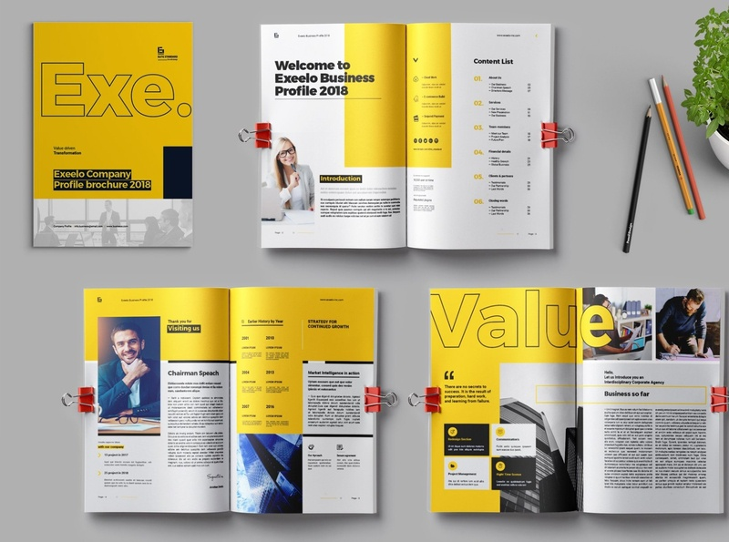 EXE Company Profile 2020 annual report brochure indesign brand branding bifold brochure annual report corporate business booklet brochure