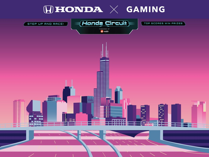 Honda Circuit at Chicago Auto Show chicago video game large format advertisement honda back wall illustration
