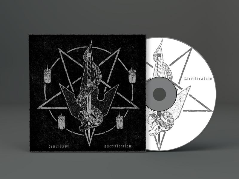 Denihilist heavy metal album art heavy horror band deathcore macabre dark illustration