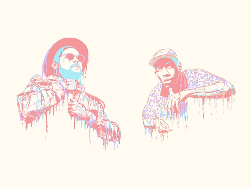 ScHoolboy and Tyler hip hop schoolboy q tyler the creator illustration surreal dripping rap