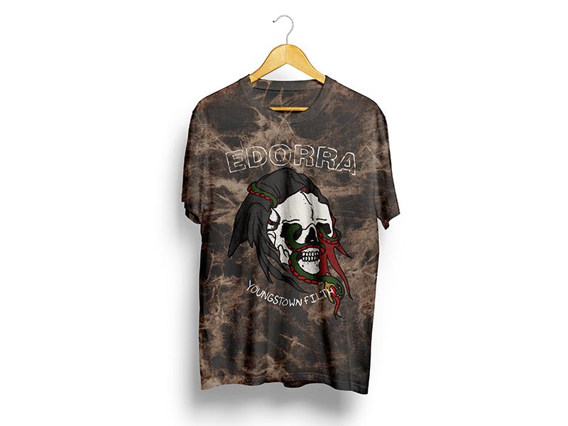 Tattoo Skull hand drawn cleveland illustration core metal hardcore march shirt reaper snake skull tattoo