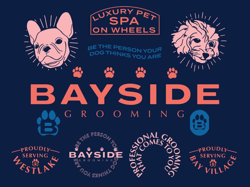 Bayside Grooming icon design identity mobile groomer dogs groomer illustration logo branding