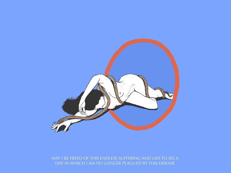 May I Be Freed woman illustration drawing nude woman snake illustration