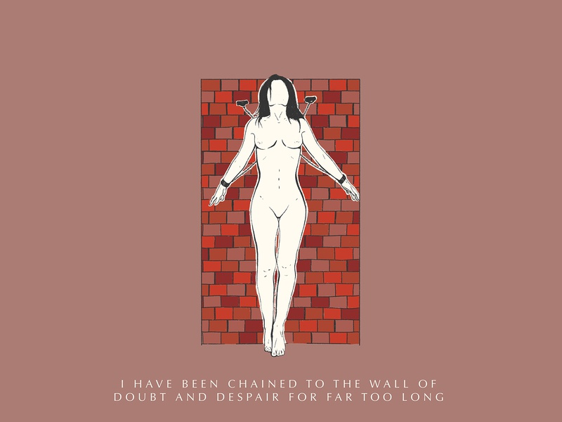 I Have Been Chained woman illustration nude woman mental health typography illustration