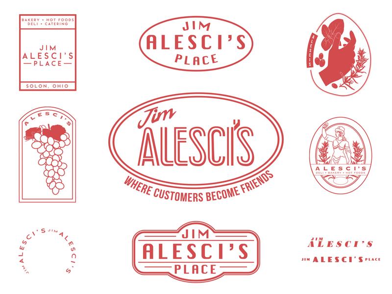 Jim Alesci's Place restaurant branding traditional grocery cafe italian restaurant italian typography vector icon branding logo illustration
