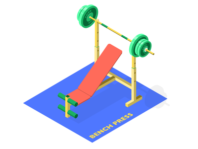 Gym - Bench Press Workstation weightlifting workstation illustration isometric illustration fitness health workout colour bench press gym