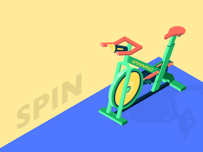 Spin - Exercise Bike isometric workout exercise bike spin isometric illustration summer illustration health cycling gym fitness cardio