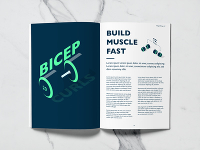 Fitness Magazine - Bicep Workout magazine editorial illustration workout weightlifting muscle isometric illustration health gym fitness dumbbells bicep