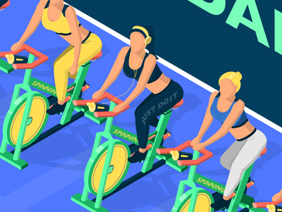 Gym - Spin Class cardio spin illustration isometric health fitness center fitness gym bike cycling cycles women