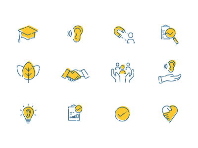 Charity Icon set values iconography icons icon set charity africa hearing loss deaf offset illustration digital icons line icons