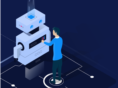 Automation - Robot AI robotics artificial intelligence smart device isometric design people automation digital smart city technology smart technology isometric illustration iot illustration internet of things