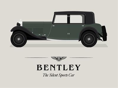 1930's Bentley 8 Litre peaky blinders smart green advertisement 1930s old car sports car dan kindley classic car bentley illustration car
