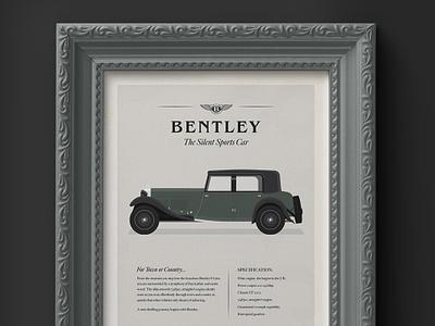1930's Bentley 8 Litre - Advertisement book dan kindley smart peaky blinders old car frame mock-up green advertisements sports car classic car car bentley advertisement 1930s