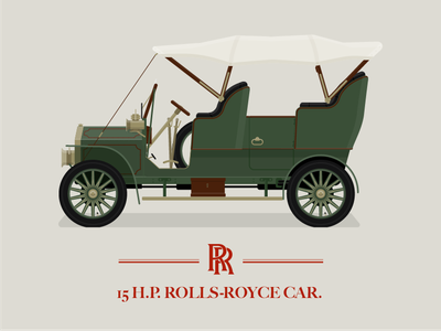 1904 Rolls Royce 15 H.P brass luxury brand luxurious green peaky blinders illustration old car car classic cars rolls royce 1900s