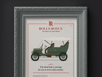 1904 Rolls-Royce 15 H.P. Advertisement illustraion dan kindley rolls royce classic advertisement peaky blinders car frame luxury brand 1900s classic car
