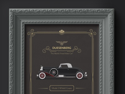 1931 Duesenberg - Whittell Coupe Advertisement frame mock-up vintage car luxury brand great gatsby graphic design art deco 1930s illustration car classic cars american usa