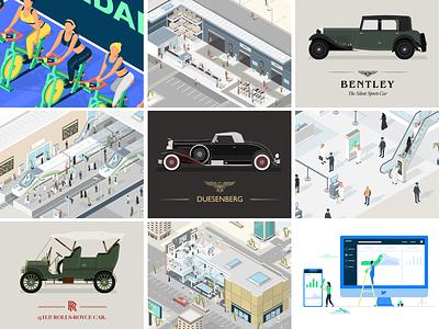 Best Nine 2018 isometric illustration classic car graphic design freelance smart city transport fitness cars illustrator illustration topnine2018 top 9 best 9 bestnine2018