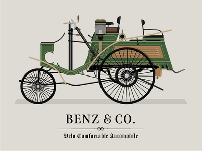 1897 Benz Velo Comfortable Automobile luxury old car illustrated illustrator illustration germany history car design vehicle design transport classic car car mercedes benz benz
