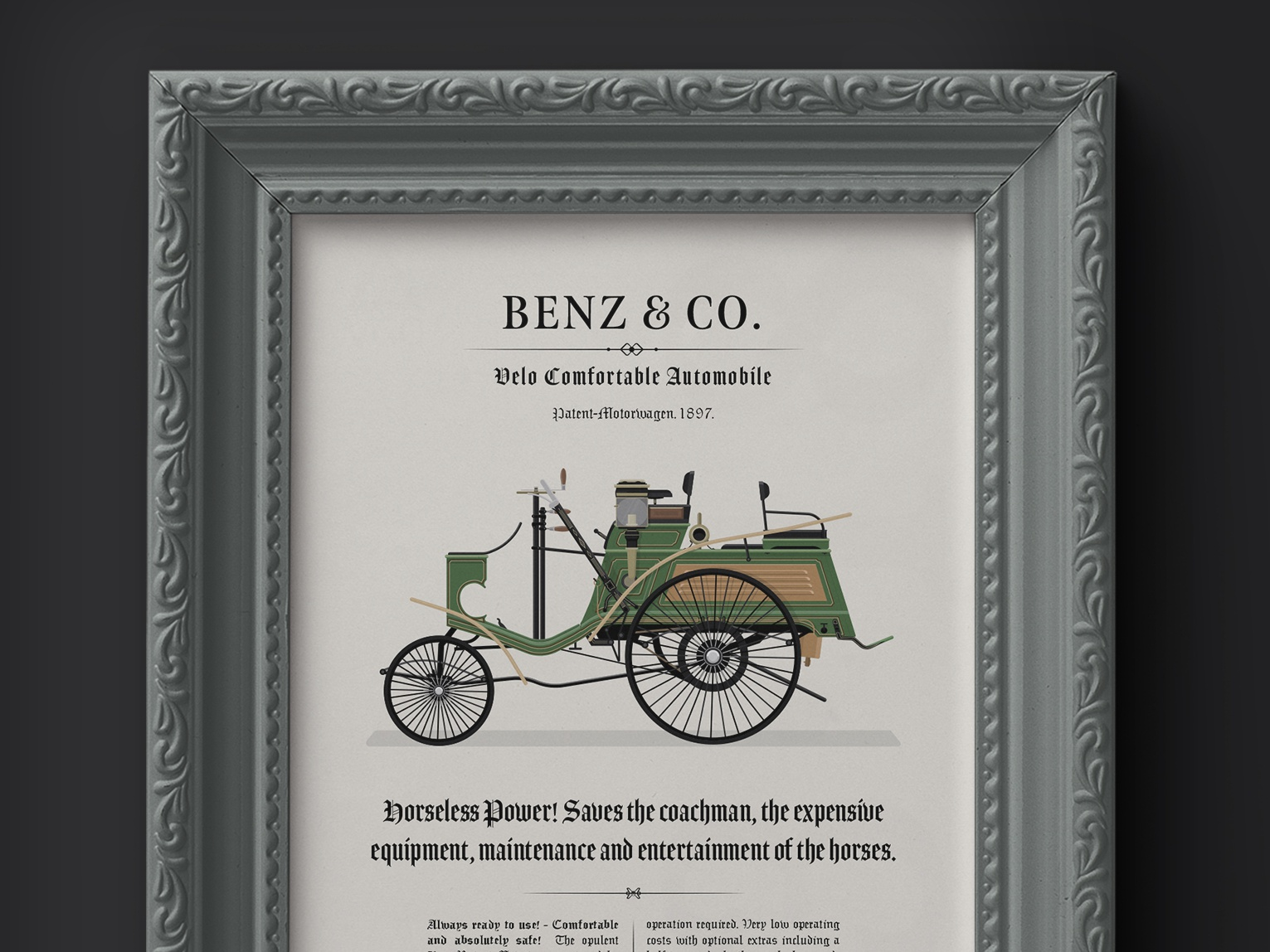 Dribbble benz velo comfortable car illustration frame mockup