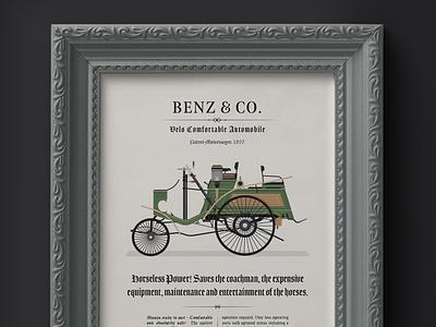 1897 Benz - Velo Comfortable Advertisement green dan kindley vintage vintage car flat  design framed vehicle transport mercedes benz illustrated illustrator german classic car car illustration car design car benz