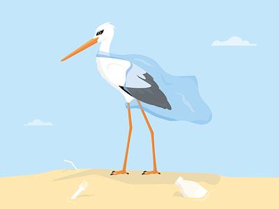 Bound by Plastic ecosystem environment sky character design bottle beach colourful stork bird illustration wildlife plastic pollution waste plastic bag plastic illustrator illustration art illustration