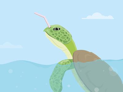 The Short Straw 🐢 waste bag straw plastic plastic pollution sea creature sealife turtle sea sea turtle illustrator illustration