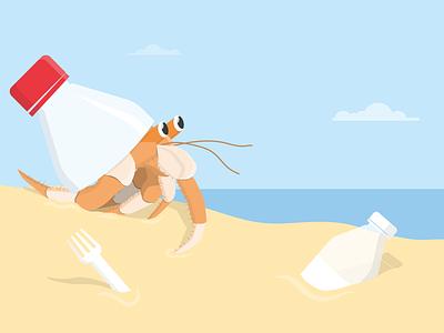Bottled up 🦀 dan kindley social change awareness environment illustration illustrator plastic plastic pollution sea beach bottle waste crab crabs hermit crab sealife sea creatures