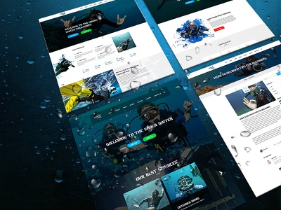 Under Water - One Page PSD Template pool ocean nature event deep ocean dark creative business blue