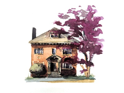 Brookline, MA home fall traditional painting watercolor house