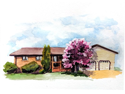 Killdeer, ND traditional painting watercolor home house