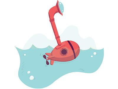 Emerging Tech waves scene bubbles sub submarine tech water illustration