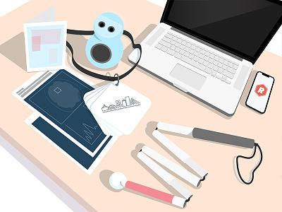 peak desk clutter brain cane work workspace iphone card nametag lanyard mac personal