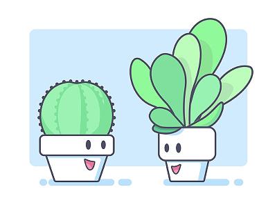 Plant Friends cacti illustration planter succulent cactus green friend plant