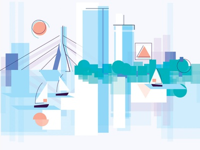 Boston skyline sailing sail prudential layered layer geometric cityscape city boston