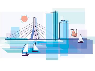 Boston skyline sailboat sailing sail prudential layered layers layer geometric cityscape city charlesriver river charles boston