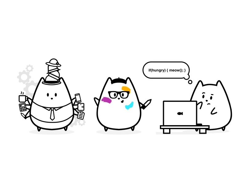 Product Team illustration team pm product manager developer development design product design product kitty cats cat