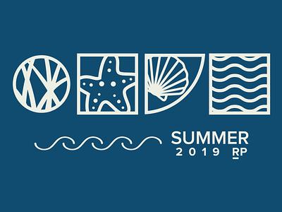 Summer Outing illustration water summer waves beach grass seashell shell start starfish geometric wave
