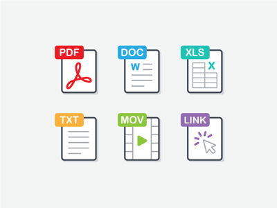 File Type Icons file extensions file types text excel doc pdf outline dominion branding colors iconography icons
