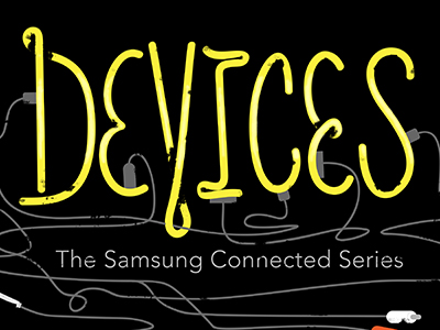 """Devices"" final film title treatment film handtype lettering"