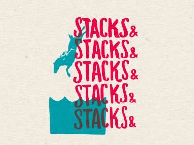 stacks and stacks and... handlettering illustration