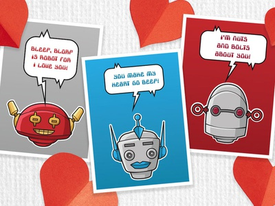 Robot Valentines Cards