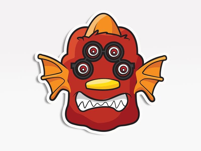 Four Eyed Monster creative market monsters. stickers emoticon emoji avatar