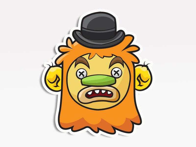Top Hat Monster creative market monsters. stickers emoticon emoji avatar
