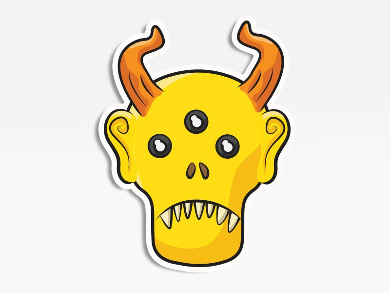 Yellow Creep creative market monsters. stickers emoticon emoji avatar