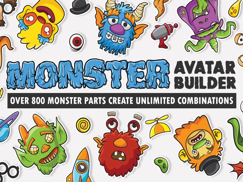 Monster Avatar Builder vector icons digital pack stickers emojis emoji avatars creative market monsters