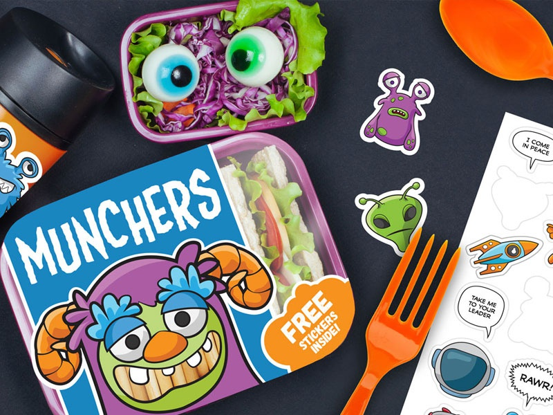 Munchers package design vector icons digital pack stickers emojis emoji avatars creative market monsters