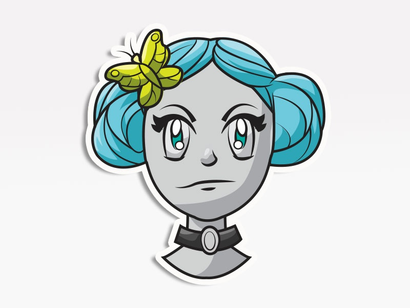 Blue Bun Girl vector icons digital pack stickers emojis emoji avatars creative market cosplay