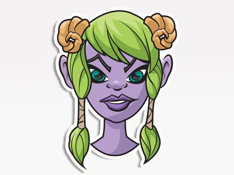 Purple Elf vector icons digital pack stickers emojis emoji avatars creative market cosplay