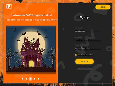 Halloween SignUp Form register ui ux registration web design ux ui form signup halloween