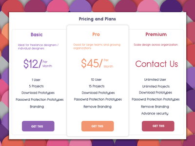 Pricing Table UI design illustration component daily ui responsive flat design photoshop sketch minimal pricing table ux ui